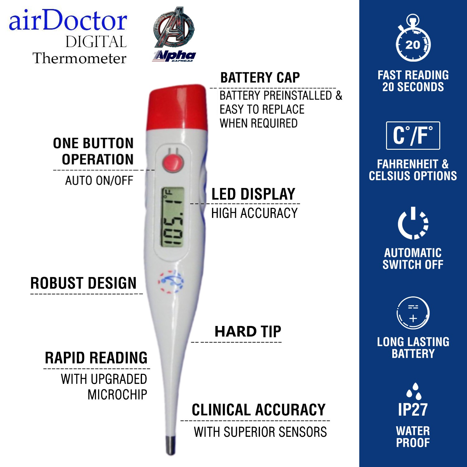 AirDoctor Digital Thermometer